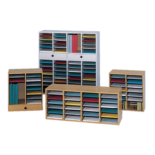 Wooden Adjustable-Compartment Literature Organizers