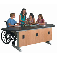 Push-Button Adjustable Height Lab Workstation