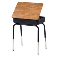 Lift-Lid Student Desk with Metal Book Box