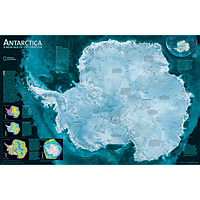 Antarctica, 1-Sided Satellite Wall Map