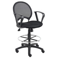 Mesh Drafting Stool in Black