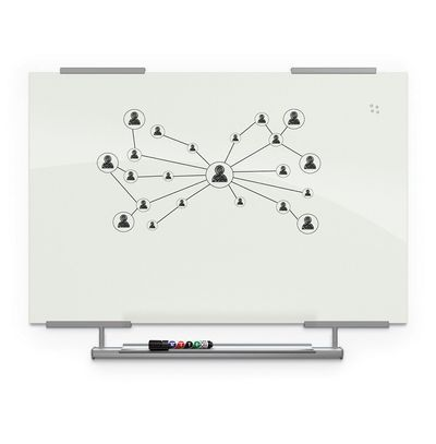 Visionary Magnetic Glass Whiteboard - With Exo Tray System