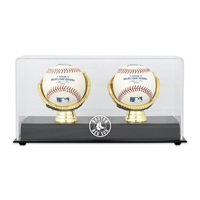 Gold Glove Two Ball Display Case with MLB Team Logo
