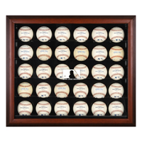 Mahogany Framed 30-Ball Display Case with MLB Team Logo