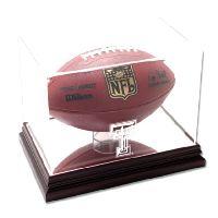 Mahogany Football Display Case with NCAA Logo