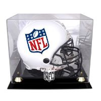 Golden Classic Football Helmet Display Case with NFL Team Logo