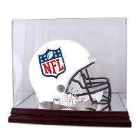 Mahogany Football Helmet Display Case with NFL Team Logo