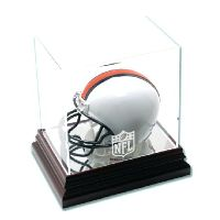Mahogany Mini Helmet Display Case with NFL Team Logo