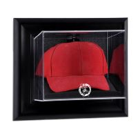 Black Framed Wall Mounted Cap Display Case with NBA Team Logo