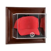 Brown Framed Wall Mounted Cap Display Case with NBA Team Logo