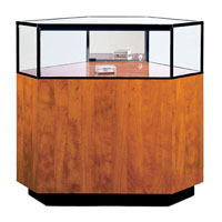 GL107 Wood Veneer Quarter-Vision Corner Jewelry Display Case