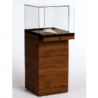GL137 Wood Veneer Pedestal Display Case with Glass Top