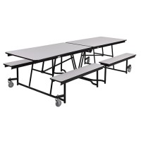 Fixed Bench Rectangle Mobile Cafeteria Table