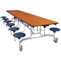 Rectangle Mobile Cafeteria Table with Stools