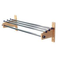 Wood Coat Rack, Chrome Top Bar