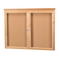 Enclosed Red Oak Wood Frame Bulletin Boards with Crown Moulding
