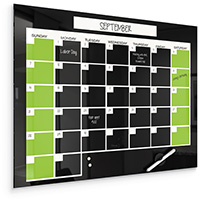 Black Magnetic Glass Dry Erase Monthly Calendar