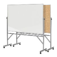 Free Standing Reversible Non-Magnetic Whiteboard and Natural Cork Bulletin Board